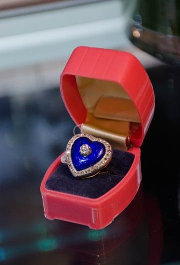 Vintage Enamal Buff Diamond & Sapphire Ring