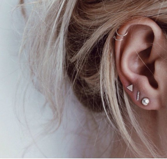 Mismatched Stud Earrings. Trendy Jewelry.